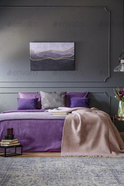Violet feminine bedroom interior