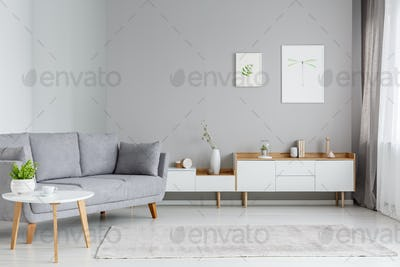 Real photo of a spacious living room interior with gray sofa sta