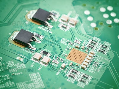 electronic components on motherboard