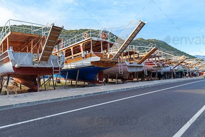 Vintage boats waiting fo reparation