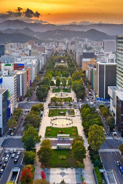 Sapporo, Japan Odori Park Cityscape