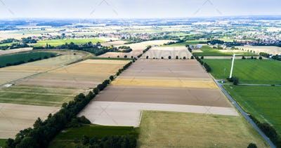 Aerial view of a country side with agricultural fields in Europe