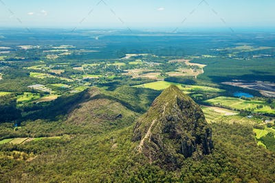 Aerial view of Glasshouse Mountains on the Sunshine Coast, Austr