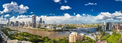 BRISBANE, AUSTRALIA - March 24 2018: Panoramic areal image of Br