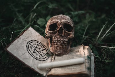 Black magic book with occult symbols and skull