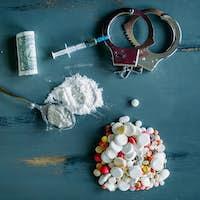 Junky kit, narcotics concept, addiction problem
