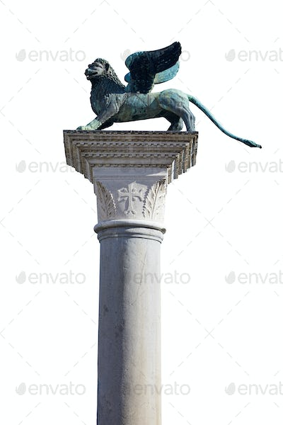 Winged Lion statue, symbol of Venice on white