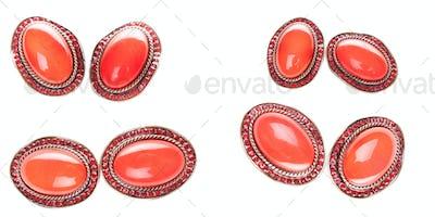 Vintage red golden ruby brooch on white background