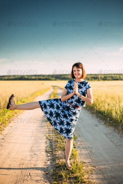 Funny Caucasian Young Adult Woman Girl Dressed In A Dress Is Foo