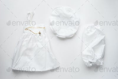 Baby clothes for baptism.