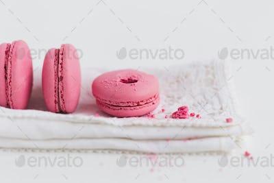 Strawberry Macaron on White Napkin