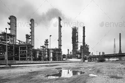 Refinery In Black And White