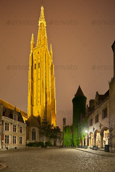 Church Of Our Lady In Bruges At Night