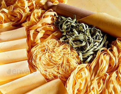 Display of dried uncooked handmade Italian pasta