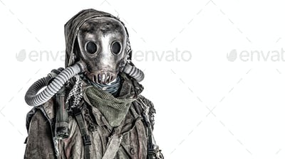 Post nuclear catastrophe survivor in gas mask