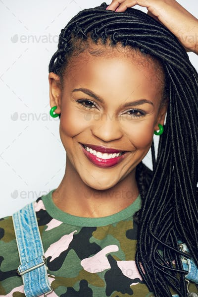 Beautiful young African woman with a beaming smile