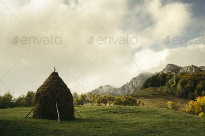 Rural mountain landscape in Transylvania