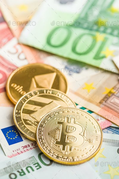 Bitcoin , litecoin and ethereum. Cryptocurrency and euro currenc