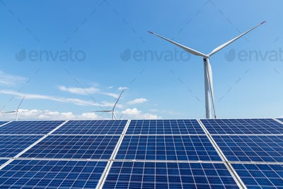 wind power plant and solar panel for renewable energy