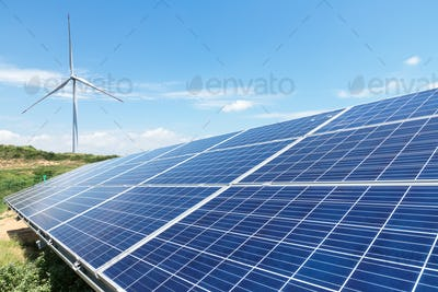 wind turbine and solar panels for renewable energy