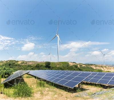 renewable energy landscape,wind farm and photovoltaic power station on sandy land