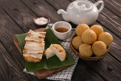 onde-onde and gandos. indonesian traditional food