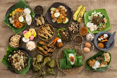 top view of traditional indonesian culinary food