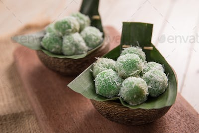 delicious klepon traditional indonesian culinary