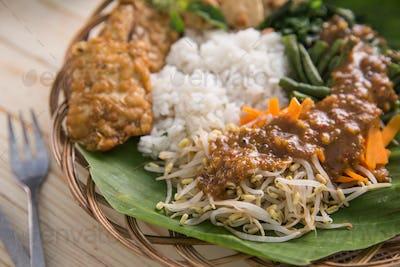 traditional indonesian culinary. nasi pecel