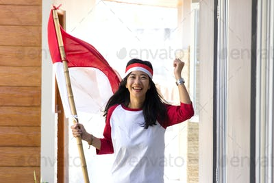 woman with indonesian flag
