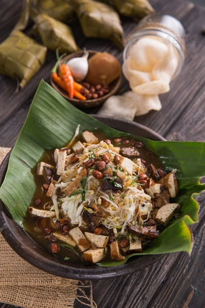 delicious traditional food. kupat tahu from indonesia