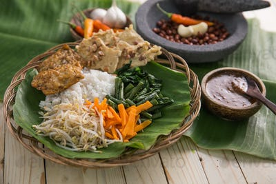 traditional indonesian culinary. nasi pecel