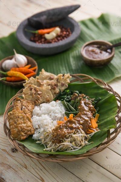 nasi pecel. vegetable with peanut sauce