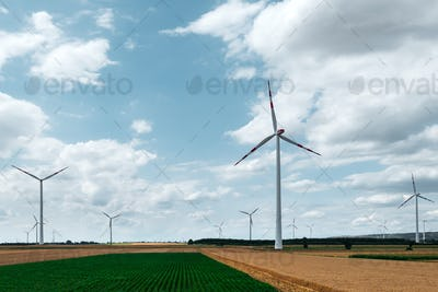 Wind turbine on agricultural field