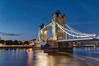 The illuminated Tower Bridge in London