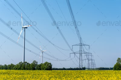 Power supply lines and some wind turbines