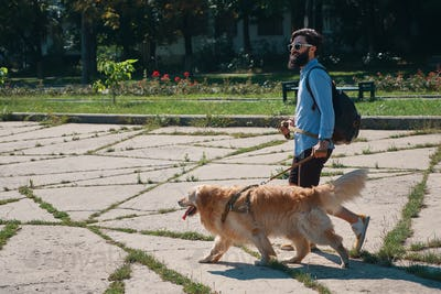 Man walking his dog in the park
