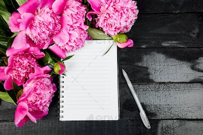 Beautiful pink peony flowers on black background with note