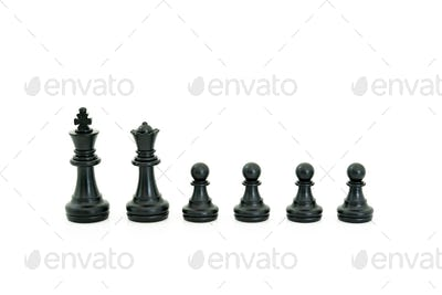 Black chess pieces on white background-2