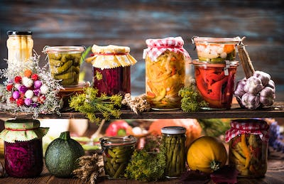 Preserved food, marinated fermented and pickled vegetables