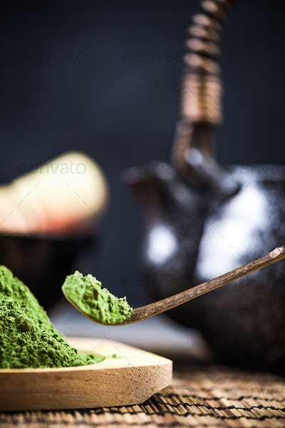 Close up view on green Matcha tea