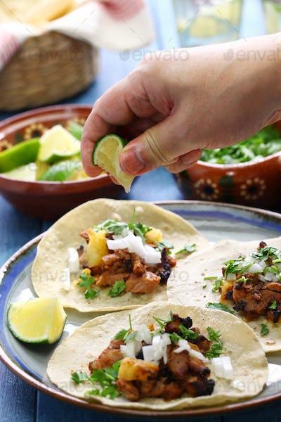 tacos al pastor, mexican food
