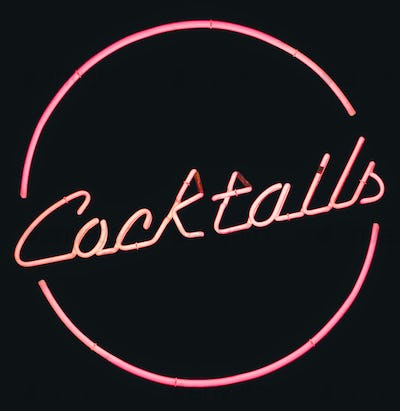 Retro Pink Neon Cocktails Sign