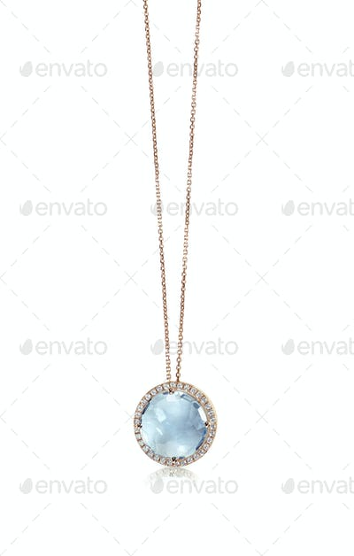 Blue topaz Cushion Cut gemstone diamond pendant necklace