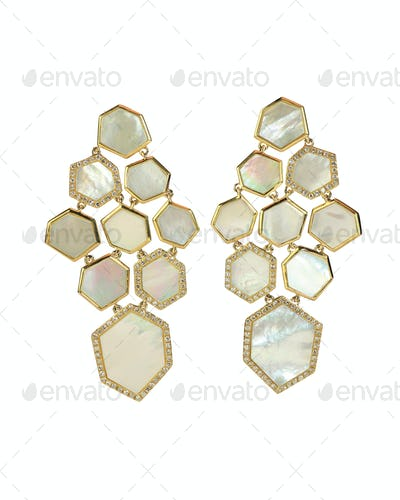 Yellow gold Mother of pearl drop fashion earrings