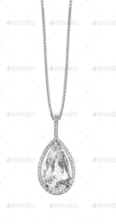 Diamond necklace pendant drop pear shape gemstone halo necklace on a chain