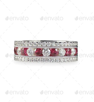Ruby and diamond wedding anniversary band ring
