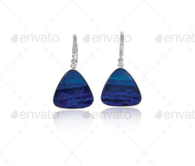 Blue Opal sapphire Fashion Drop Earrings with diamonds