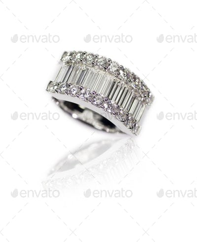 Diamond encrusted engagment wedding anniversary ring with Emerald Cut Diamonds