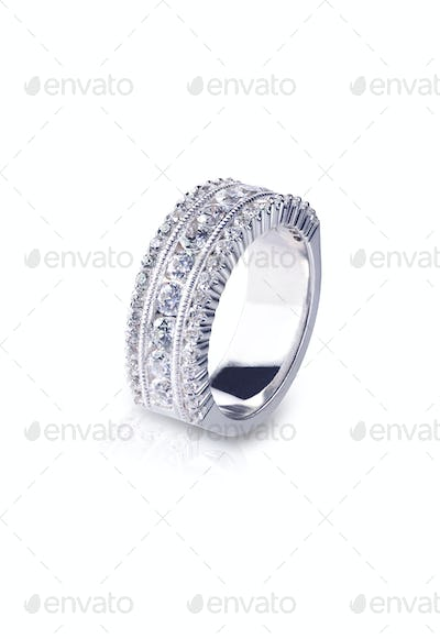 Side view diamond wedding band ring
